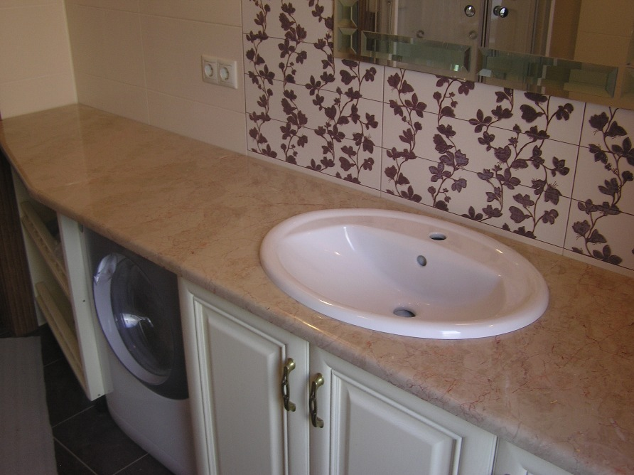 Мраморная столешница в ванной фото деревянная столешница для кухни цены